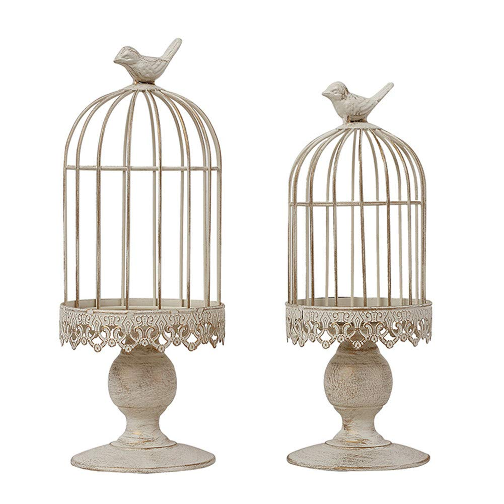 Small RuiXiang Open Birdcage Candle Holder,Vintage Candle Holder,Wrought Iron Decoration Birdcage Candle Holder,Wedding Romantic Birthday Supplies