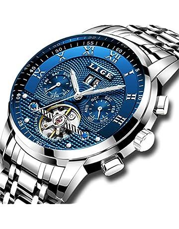 8b19e806e2ff LIGE Impermeable para Hombre Acero Inoxidable Reloj Mecánico Automático  Negocios Vestido de Reloj de Pulsera …