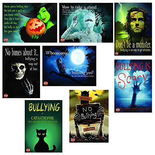 Anti-Bullying Halloween Poster Set Featuring 8 Laminated Prints With Striking Halloween Images (Literary Characters For Halloween)