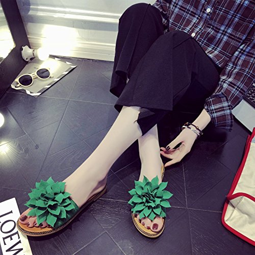 Wind WHLShoes Rural Comfort Outdoor Wild Summer Flower Vacation Flat Sandals Female Fashion Sandals Women'S green Holiday Beach Students 7qx4wr17