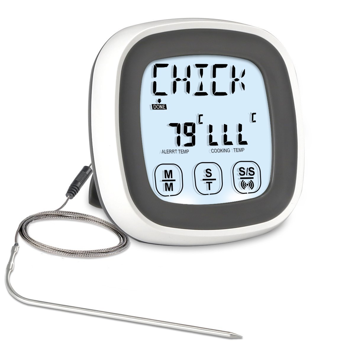 Meat Thermometer, SENGKA Instant Read Food Thermometer Digital Cooking Thermometer with Timer Alert 1 Probe for Oven, Kitchen, Grilling, Smoker(Grey)
