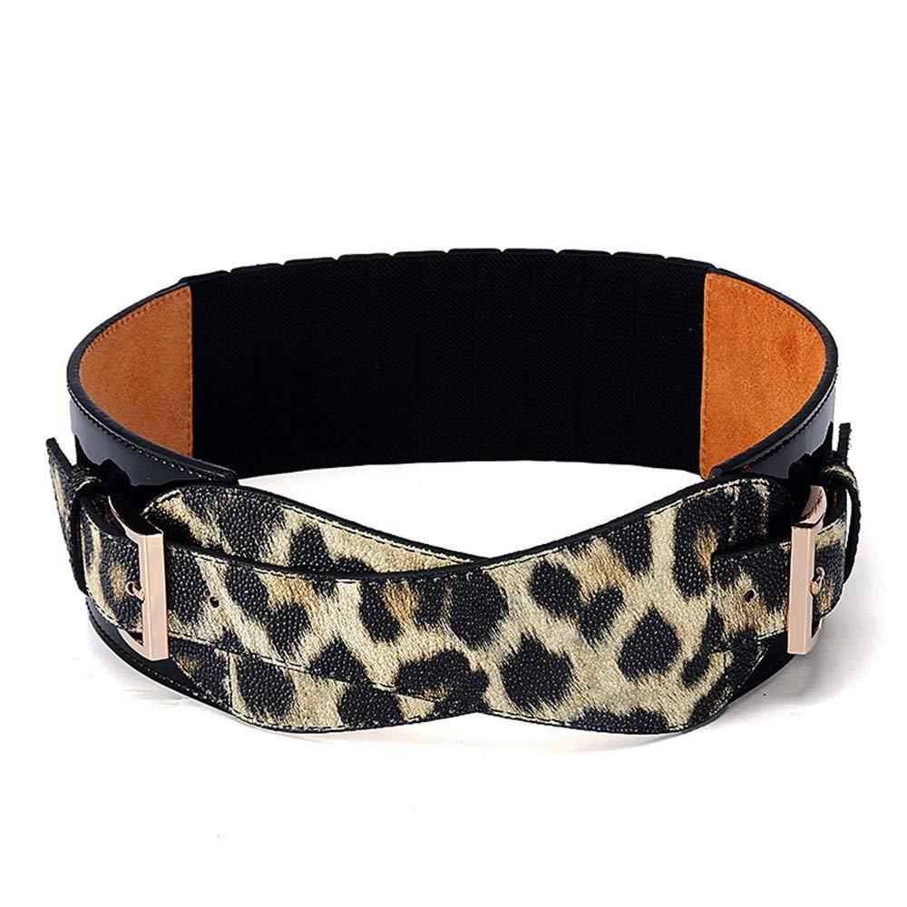 Shuo lan Cinturón de Mujer Leopardo Cinturón Ancho Hebilla Dama Faja Decoración Todo-fósforo Abrigo Chaqueta Chaqueta elástica Gruesa !
