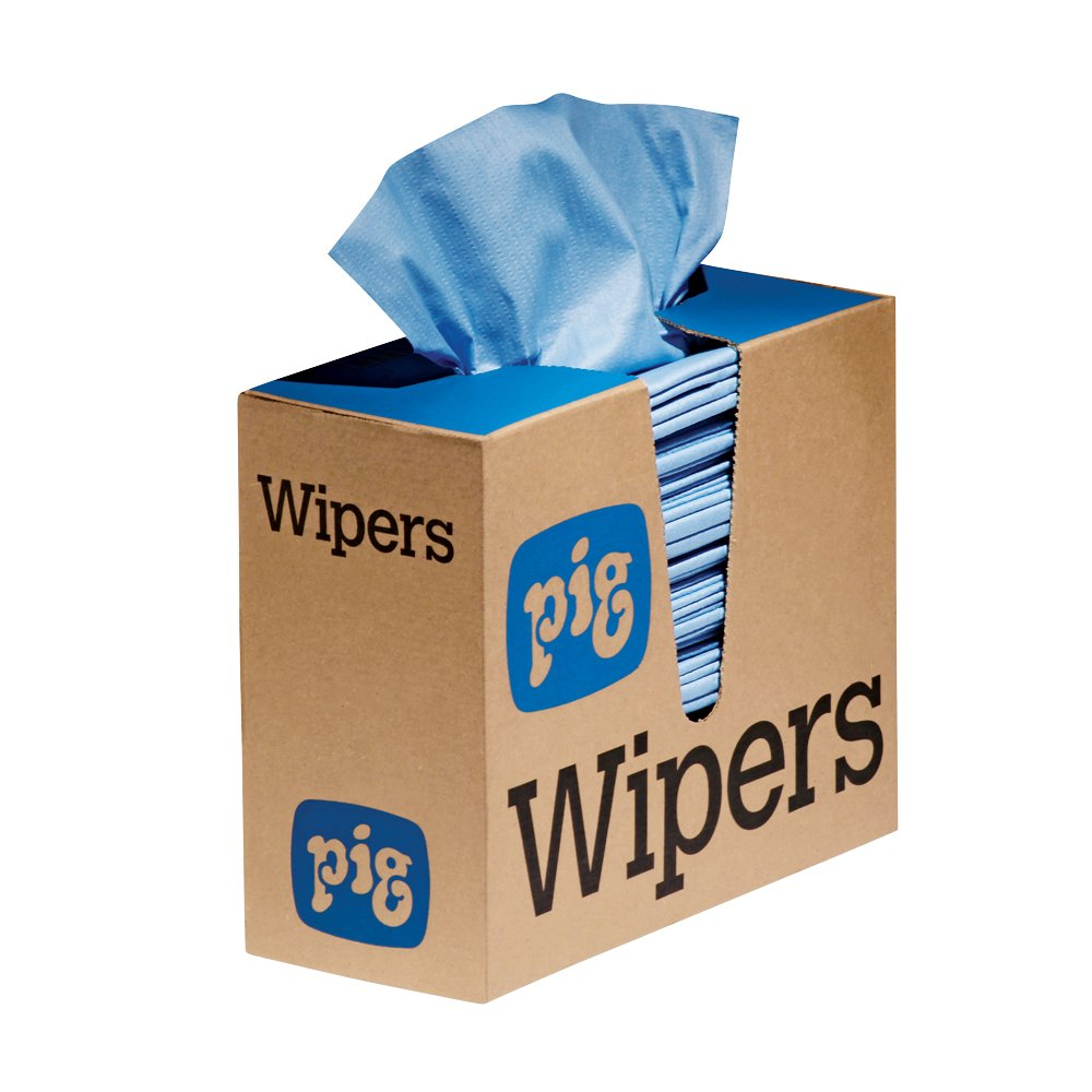 New Pig PR70 Heavy-Duty Maintenance Wipers, Pop-Up Wipers, Blue, 16'' L x 9'' W, 750 Wipers (6 Boxes of 125 Wipers), WIP306