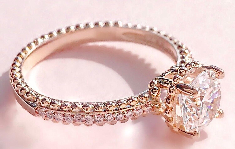 Free Engraving! Ah! Jewellery® 2.30ct Round Rose Gold Vermeil ...