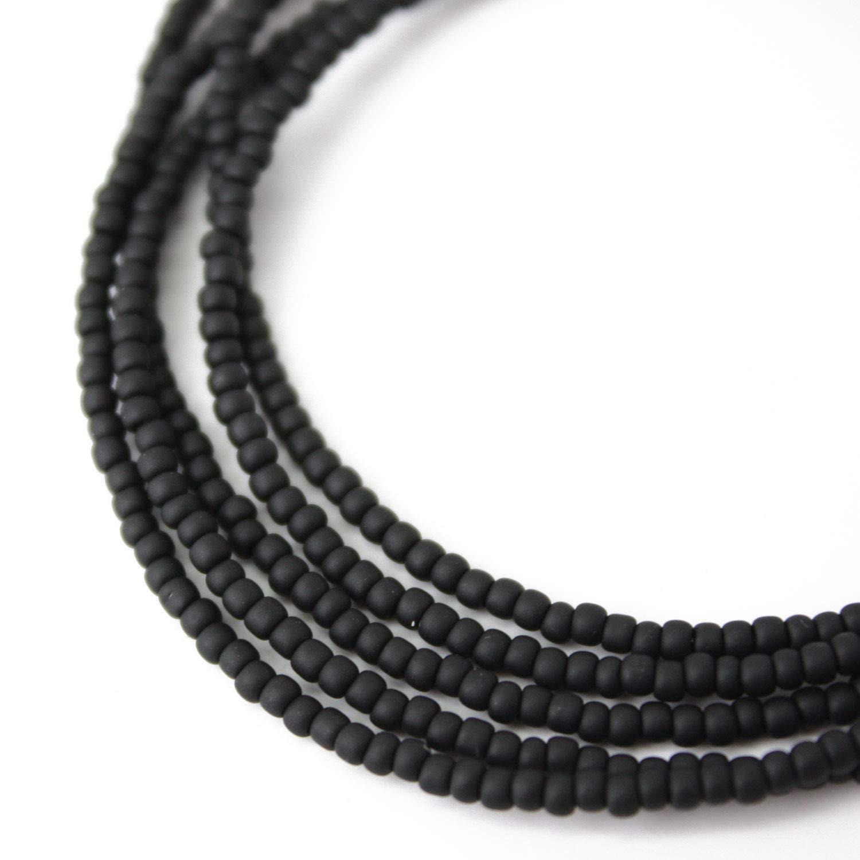 b5f9e4717cd9e Black Seed Bead Necklace, Opaque Matte Black Beaded Single Strand Necklace