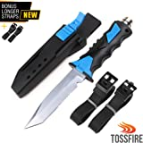 Zip Diving Knife | Ultra Sharp 9 x 1.6 Inch Dive Knife for Scuba Diving, Water Sports and Snorkeling | Double Edge Serrated Smooth Blade with Sheath | Extremely Sturdy and Lightweight Stainless Steel