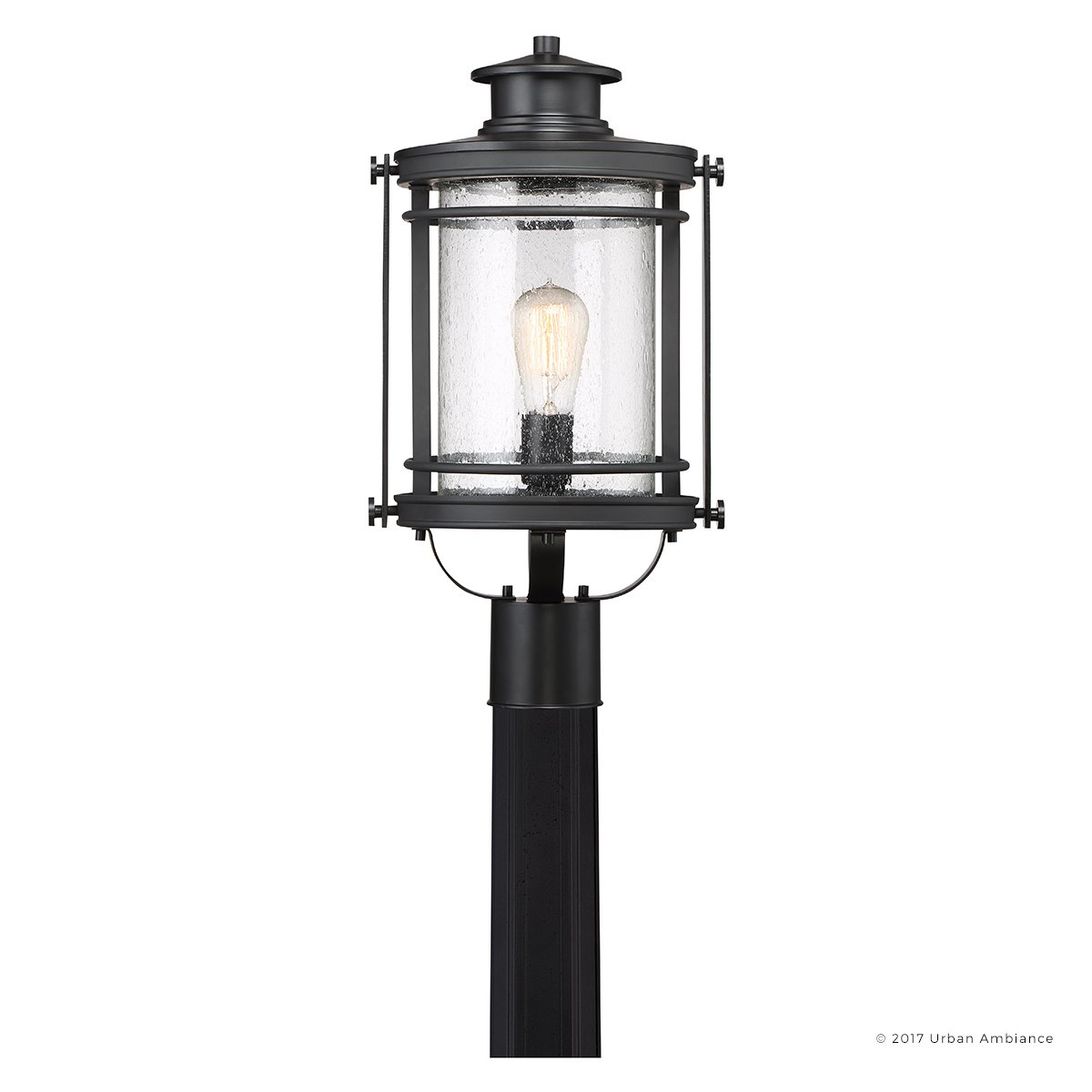 Luxury MidCentury Modern Outdoor Post Light, Medium Size: 19.5''H x 10.5''W, with Craftsman Style Elements, High-End Black Silk Finish and Seeded Glass, Includes Edison Bulb, UQL1010 by Urban Ambiance