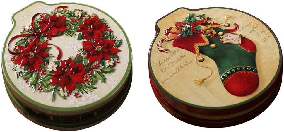 2xRound Zadd o Zsub Forma de boca de caballo Caja de regalo de galleta de caramelo de hierro Tarro Navidad