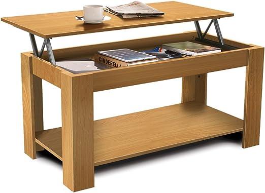 HOMFA Mesa de café Mesa de centro elevable con revistero para ...