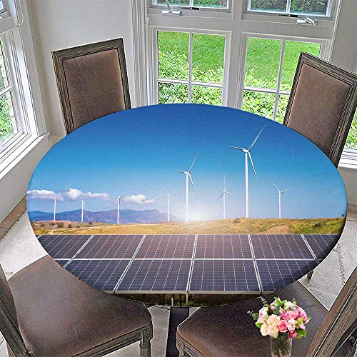 PINAFORE HOME Circular Table Cover Solar Panels with Wind turbines Against mountanis Landscape for Wedding/Banquet 31.5''-35.5'' Round (Elastic Edge) by PINAFORE HOME