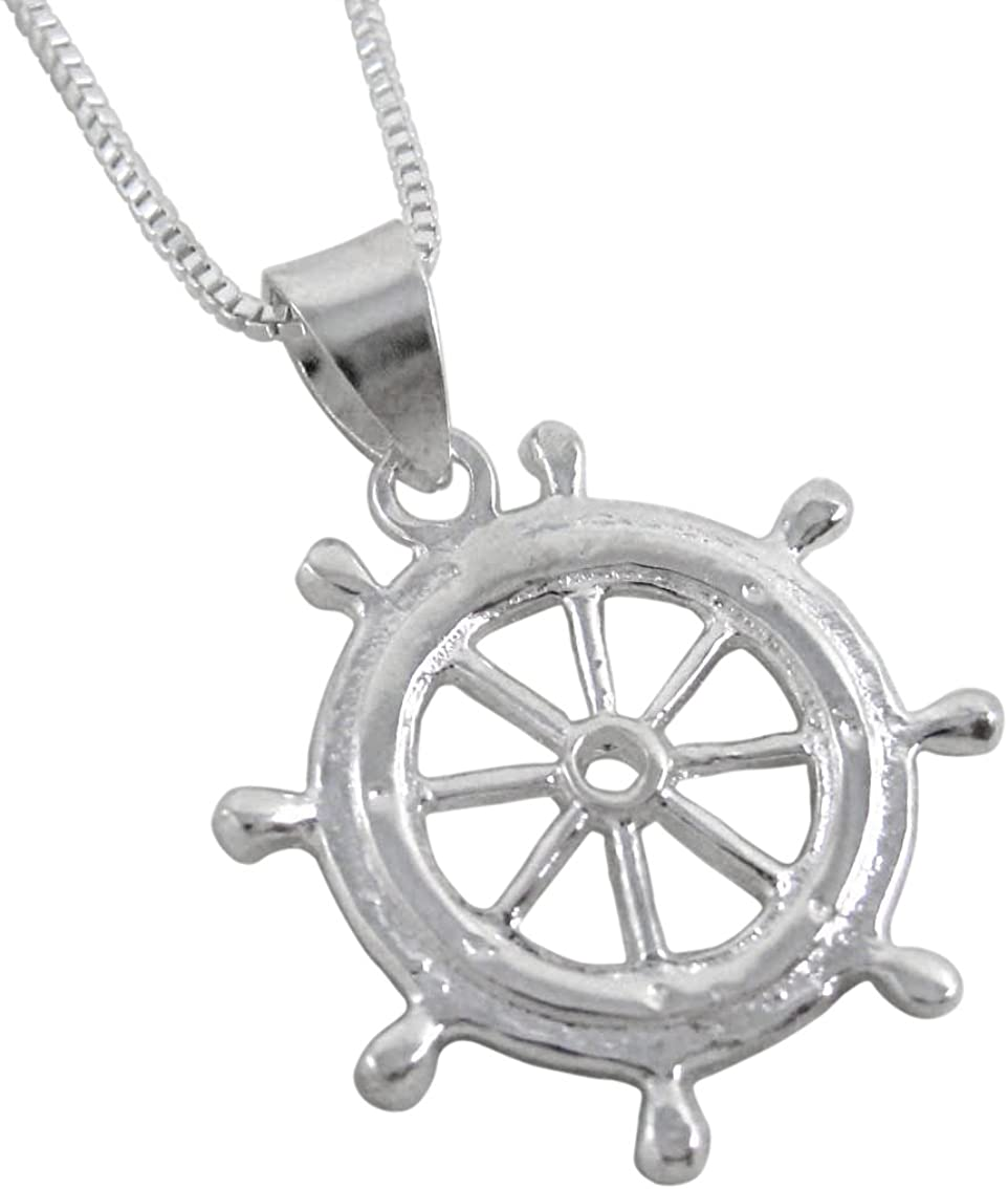 High Polish 18 inches Sterling Silver Captains Wheel Charm Necklace