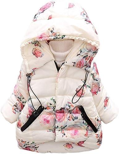 nouveau style réduction jusqu'à 60% techniques modernes Blouson Bébé Fille, Enfant Imprimé Floral Veste d'hiver Manteau à Capuche  Blouson Robe Veste Coupe-Vent BaZhaHei