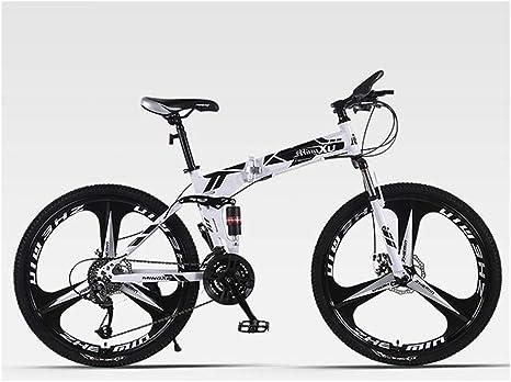 KXDLR Suspensión Plegable Bicicleta De Montaña 24 De Velocidad De Bicicletas MTB Completa del Marco Plegable 26