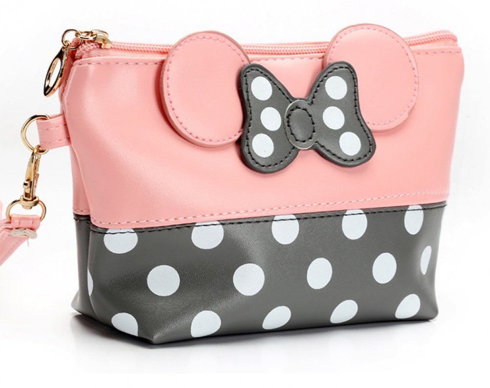 Multicolored Cartoon Small Bow Polka Dots Travel PU Makeup Cosmetic Bag Organizer Cute Waterproof Portable Purse Pouch Handbag Organizers Handy Cosmetic Pouch Clutch for Travel Women Girls Pink