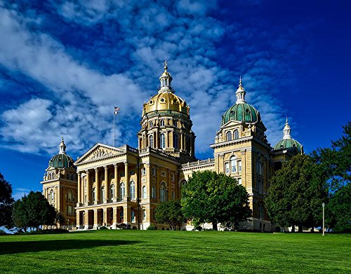 Iowa State Capitol Building - Quality Prints - Laminated 30x23 Vibrant Durable Photo Poster - Des Moines Iowa State Capitol Building Structure Dome Landmark Historic HDR Sky Clouds Lawn Grounds Government Architecture City