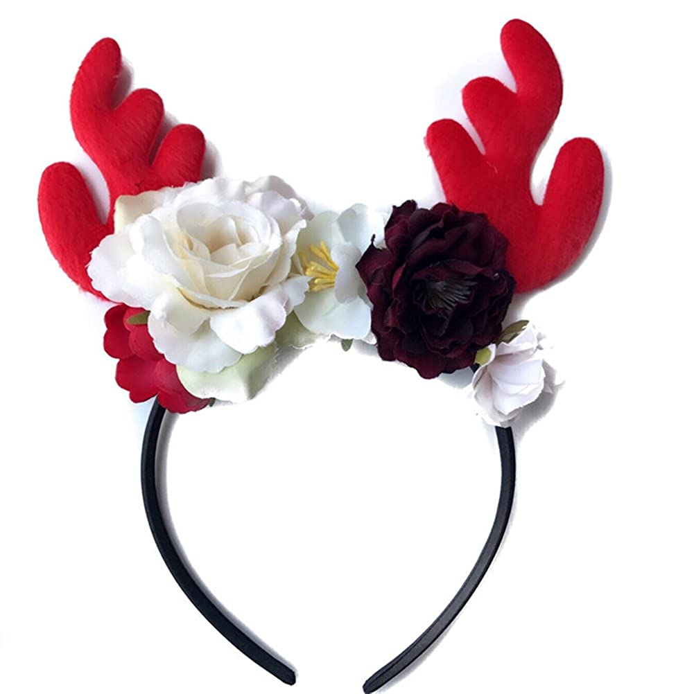 CaJaCa Little Girl Deer Antlers Ears Flower Headband Kid Hair Hoop Halloween Birthday Party Costume