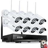 ZOSI HD 960P Funk Überwachungskamera System mit 1TB Festplatte 8CH 960P WiFi NVR 8 Stk. 1,3 Megapixel HD Wireless IP Netzwerk Kamera Video Überwachungsset Indoor / Outdoor (30M IR Nachtsicht, Schnellzugriff, Bewegungserkennung)