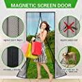 "Aoocan Magnetic Screen Door with Heavy Duty Mesh Curtain and Full Frame Velcro Fits Door Size up to 36""-82"" Max- Black"