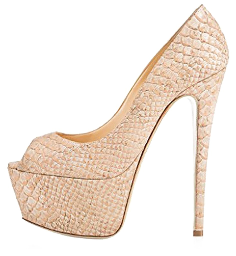 Calaier Mujer Casit Tacón De Aguja 16CM Sintético Ponerse Sandalias de vestir Zapatos 42 EU Gold
