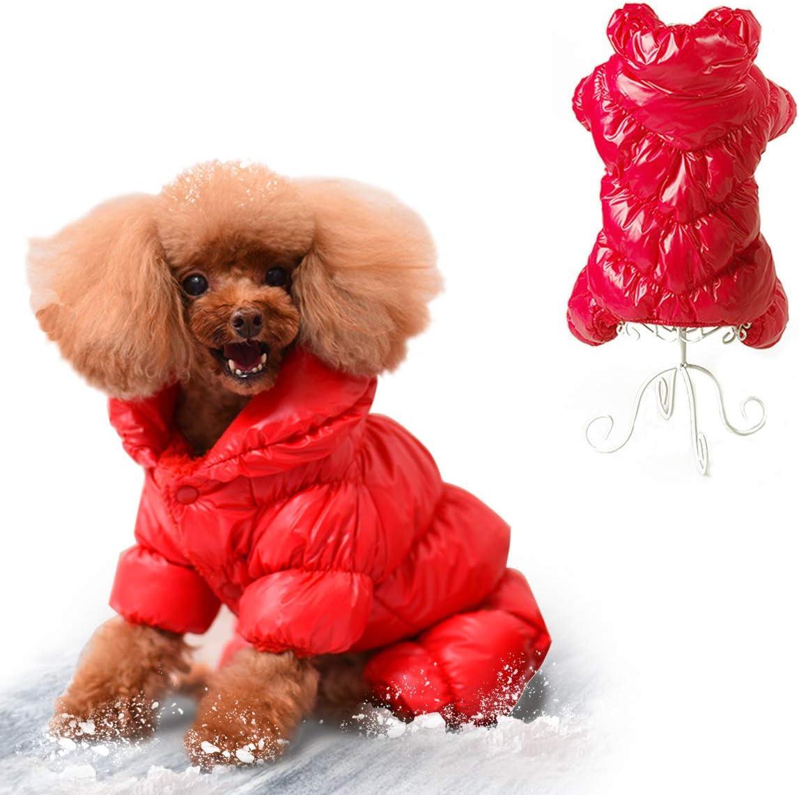 Sytaun Pet Clothes,Dog Jumpers,Winter Warm Clothes,Pet Dogs Cat Raincoat Dinosaur Jacket Rainwear Waterproof 4-Legs Hooded Coat Red S