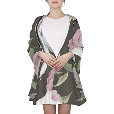 fa555958076 Beautiful Birds And Flowers Hand Drawn Watercolor Unique Fashion Scarf For  Women Lightweight Fashion Fall Winter