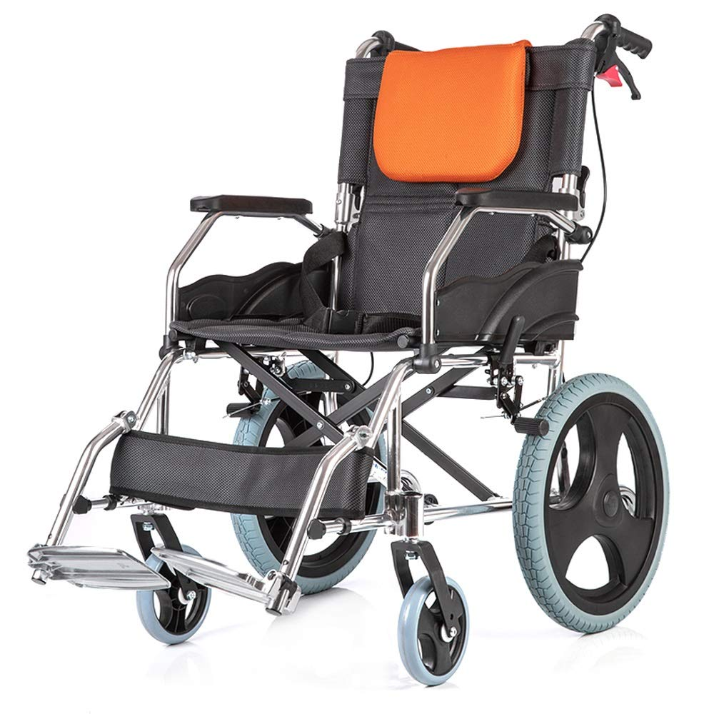 YANGLIYU Aluminium Wheelchair,Folding Self Propelled Wheelchair,Light and Easy to Carry,Load Capacity Up to 100 Kg, Black