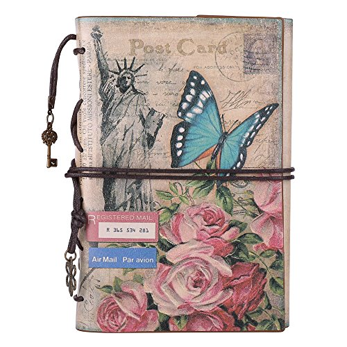 Leather Journal Notebook, MALEDEN Spiral Bound Daily Notepad For Women Men Traveler Notebook Sketchbook Antique Diary Refillable Planner with Unlined Paper and Zipper Pocket (A6, Flowers)