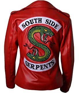 HLS Riverdale Southside Serpents V1 Femmes   Geniune synthétique Veste en  Cuir XXS-5XL Red 34aab351de8