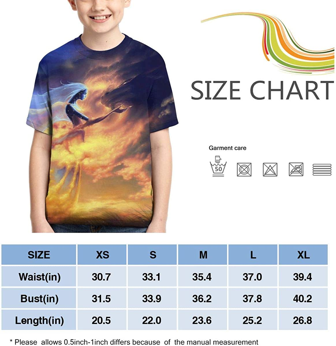Angel Wings Full Printed Short Sleeve Crew Neck Tees Youth T-Shirts Summer Tops for Boys