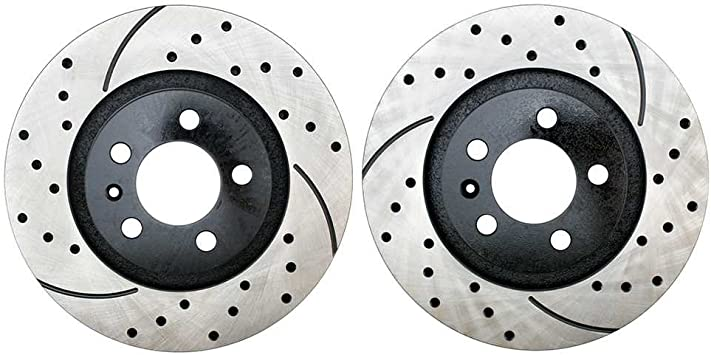 Prime Choice Auto Parts PR44146LR Performance Drilled and Slotted Brake Rotor Pair for Rear