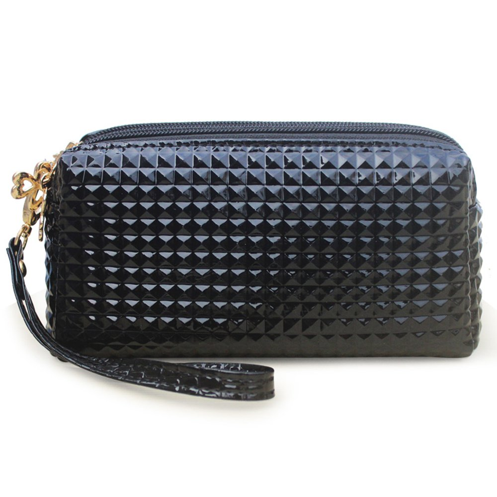 Black Leather Wristlet Zipper Wallet Clutch Phone Purse with 3 Pockets for Women