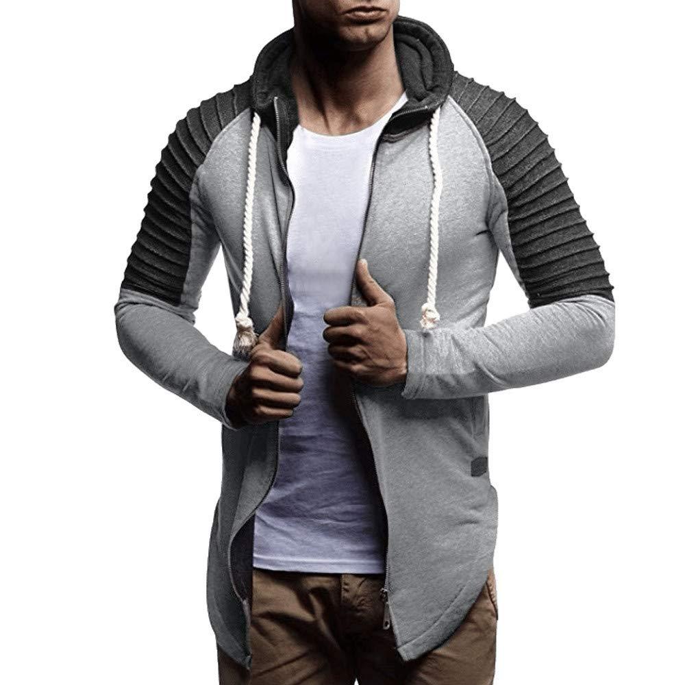 2018 Big Promotion Caopixx Sweatshirt for Men Autumn Winter Patchwork Zipper Casual Hooded Pullover Jacket Coat Outwear Soft