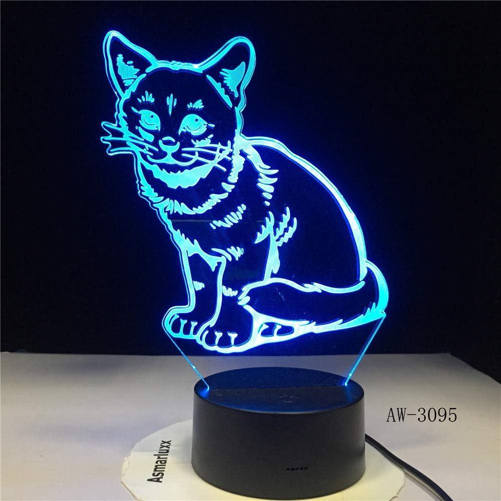 BFMBCHDJ 3D LED Night Light Alert Cat con 7 colores de luz para la lámpara de decoración del hogar Amazing Visualization Illusion Gift