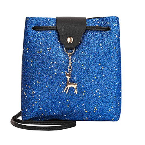 Bandoulière Beautyjourney Cuir A Femms Pale Bag Chic Main Rose sac Sequins Bleu Sac À 1wr1azq