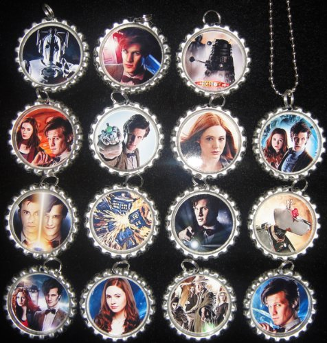 15 DOCTOR WHO Flat Bottle Cap Necklaces for Birthday, Party Favor Set A1 -