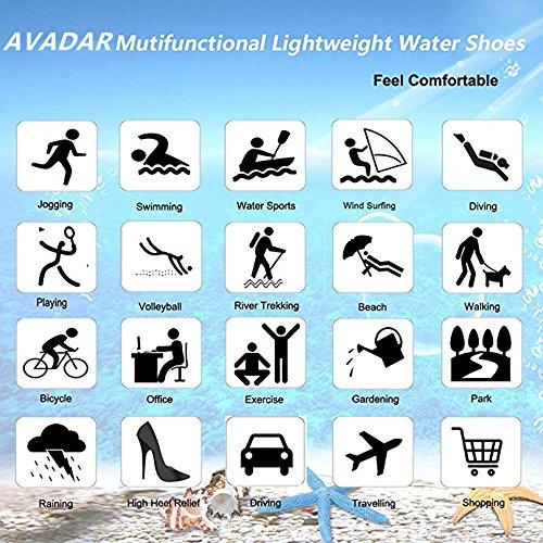 AVADAR Männer Frauen Wasser Schuhe Barfuß Quick Dry Aqua Schuhe für Schwimmen Walking Yoga See Beach Garden Park Fahren Bootfahren. Schwarz