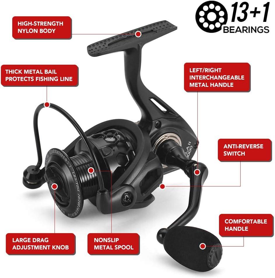 13+1 Ball Bearings Spinning Reel 1000-6000 Series Lightweight Hollow Carp Fishing Reel Walmeck