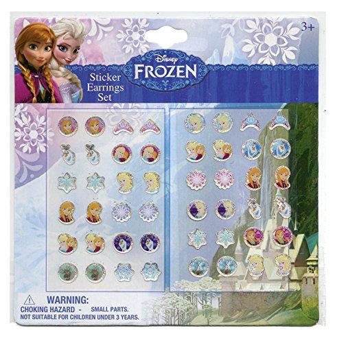 Disney Frozen Girls 24 Pair Sticker Earrings (Pack of 3)