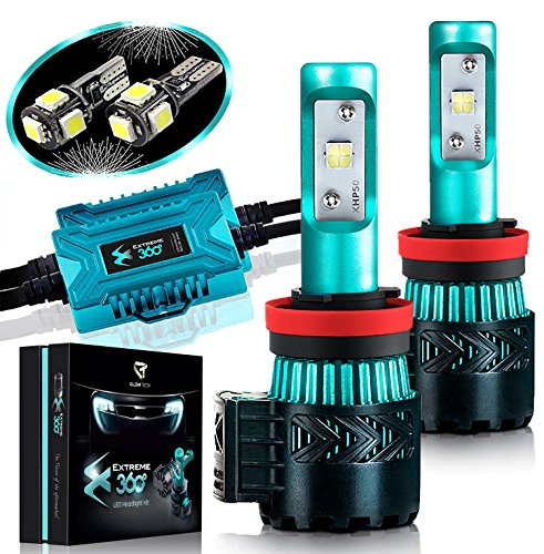 LED Headlight Bulbs Conversion Kit - H11(H8/H9) CREE XHP50 Chip 12000 Lumen /Pair 6K Extremely Bright 68w Cool White 6500K For Bright & Greater Visibility 2 Year Warranty by Glowteck - Conversion Kit Honda Element
