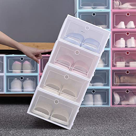 FlyingBean Drop-Front Shoe Box for Womens Mens Clear Plastic Foldable Stackable Shoe Organizer Wall Storage Shoe Box Save Space /& Cleans for Closet Shelf Entryway Hallway 2 case in Package