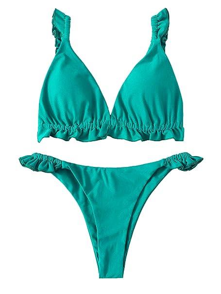 680ef3fcc1dc DIDK Bikini Mujer 2019, Set de Bikini Rojo Volante Traje de baño