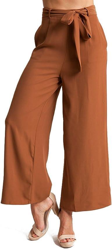 Mujer Ancho Pierna Pantalones Elegantes Color Solido Cintura Alta Leggings Flojos Suave Casual Primavera Verano Oficina Largo Pantalon Con Cinturon Plus Size Amazon Es Ropa Y Accesorios