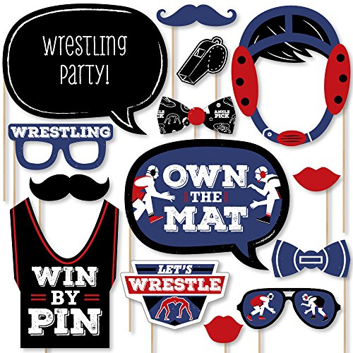 Big Dot of Happiness Own the Mat - Wrestling - Birthday Party or Wrestler Party Photo Booth Props Kit - 20 Count ()