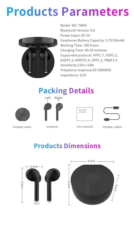 Blanco LCluckyml TW40 In-Ear Sport Bluetooth 5.0 Auriculares inal/ámbricos con Caja de Carga Port/átil Y Micr/ófono Integrado Auriculares Bluetooth