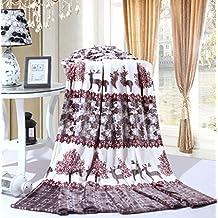 """Bedding Extra Soft Coral Fleece Blanket Lightweight Thickening Throw/Bed Blanket Color Blanket Deer Love Queen(79""""X91"""")"""