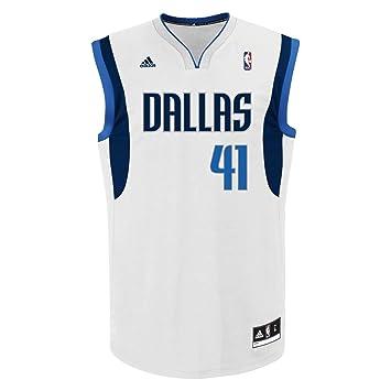 Adidas NBA Nowitzki Dallas - Camiseta para baloncesto, réplica de la camiseta de Nowitzki del