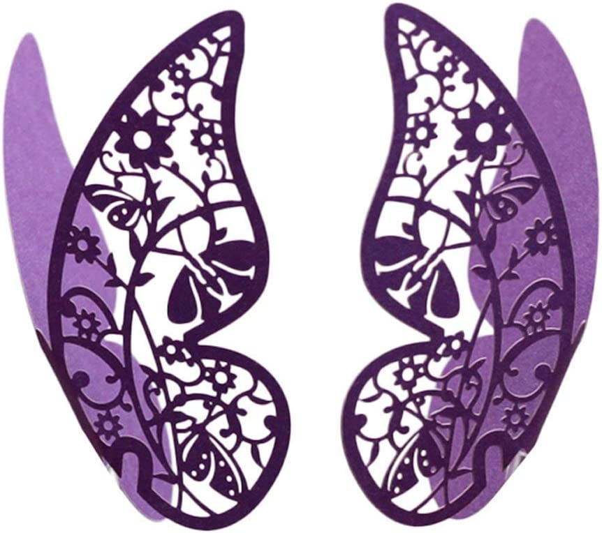 Techrace Butterfly Flower Name Place Card Wedding Engagement Party Favour Table Number Decor Champagne Wine Glass Decoration Wall Stickers,50 Pieces