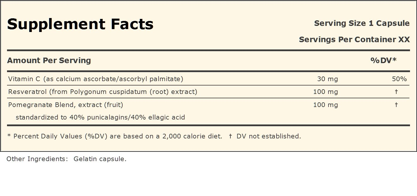 Resveratrol-100 with Pomegranate 40-40 360 Capsules
