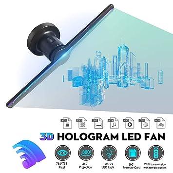 384 Leds Holograma 3D Proyector Ventilador con 16G TF Holográfica ...