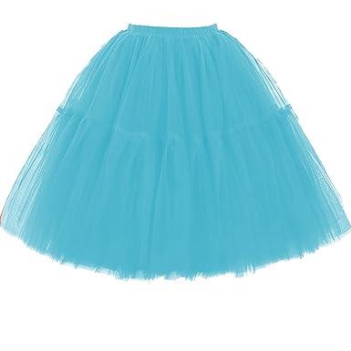 4adb9442a9bfa3 Omela Tüllrock Damen Vintage Tutu Rock Tanzrock Unterrock Petticoat Prinzessin  Rock (Blau1,S)
